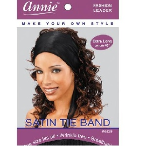 Annie Satin Tie Band Extra Long Black
